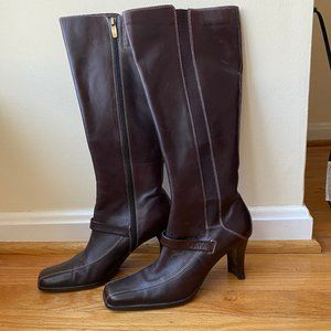 Anne Klein Chocolate Brown Leather Boots